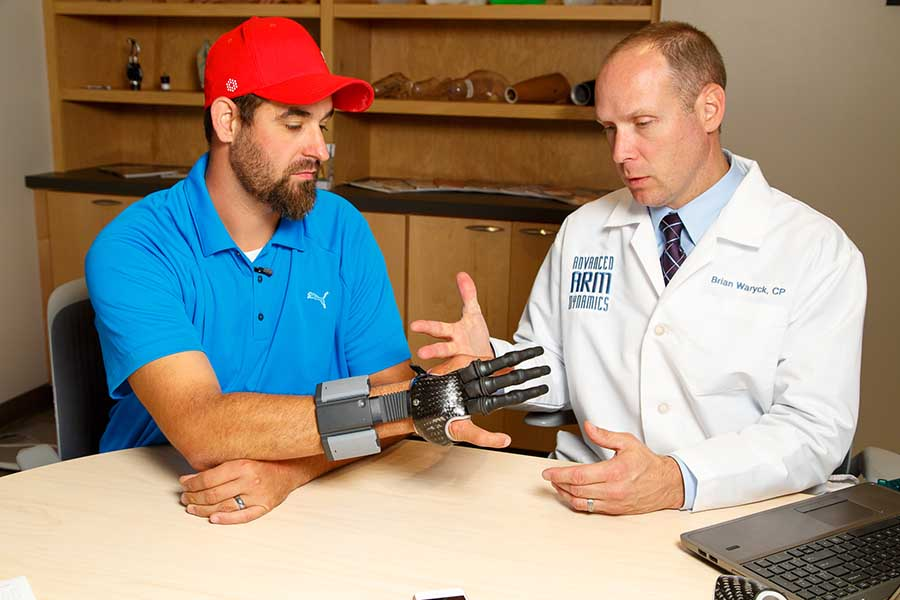 Arm Dynamics prosthetist working with patient