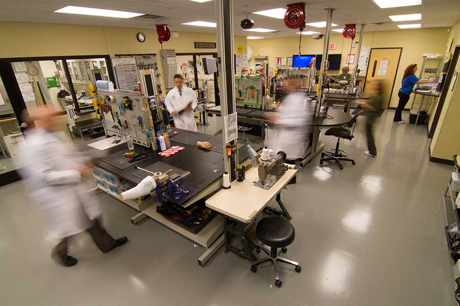 Prosthetic lab at Arm Dynamics, Dallas clinic