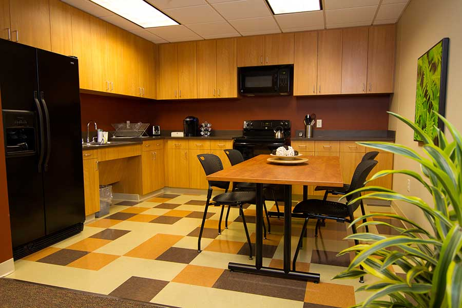 Kitchen, break room and therapy training area