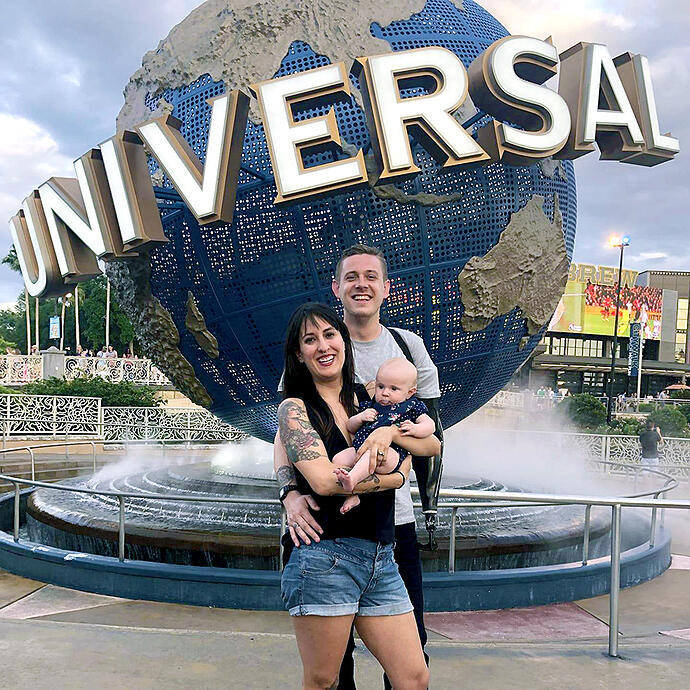 Austin, Wife and Child at Universal Studios