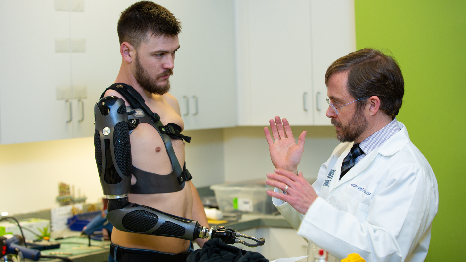 Prosthetist working with a shoulder level patient
