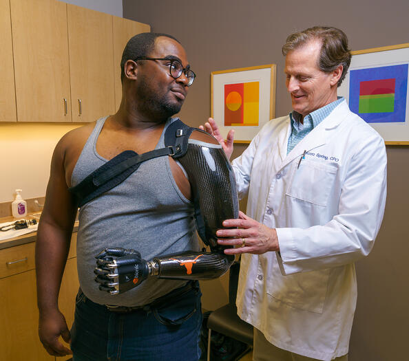 Lloyd with his prosthetist
