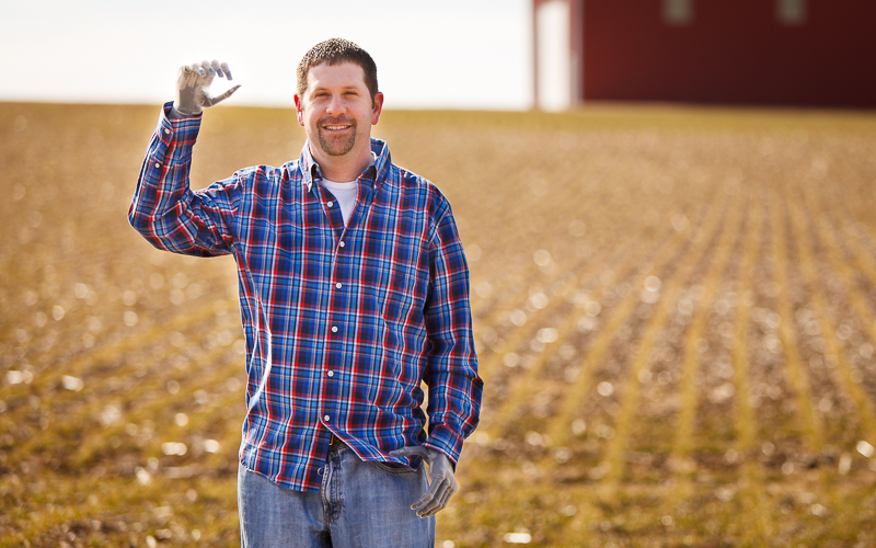 Jason Koger on his farm in Kentucky