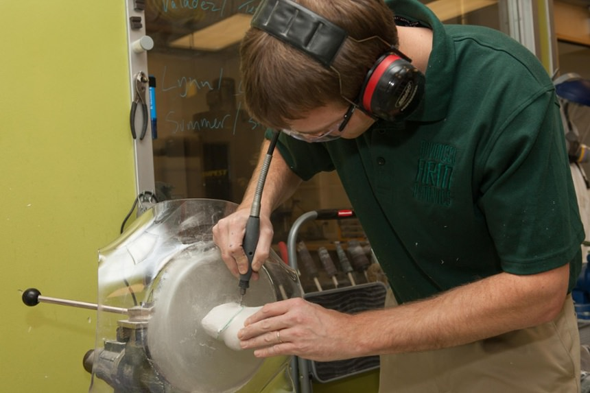 Technician Cullen Hayes creates the socket frame
