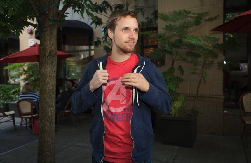 Jon Kondelik with his custom passive prosthesis