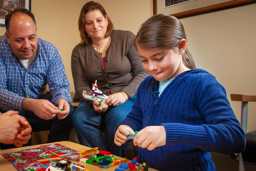 Alexia Michitti playing with Legos