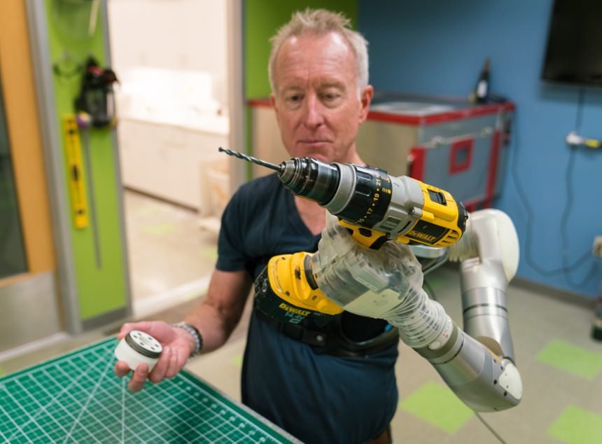 Arm Dynamics patient Steve Brown testing out the Mobius Bionics LUKE Arm