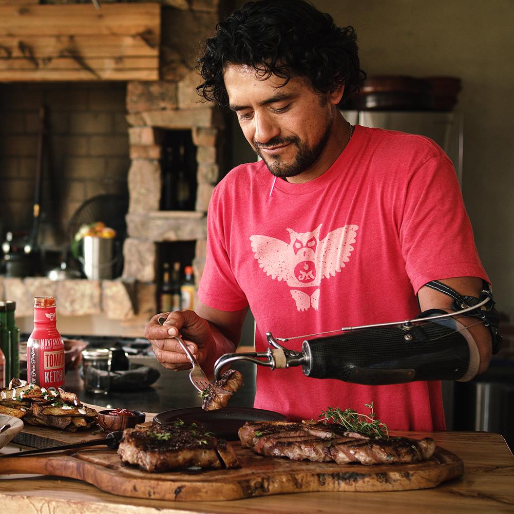 Eduardo Garcia cooking at home