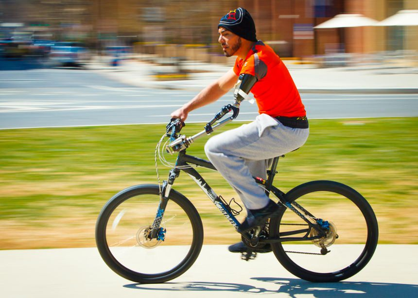 Staff Sgt. Michael Kacer (RET) Above elbow amputee activity specific wounded warrior bicycle